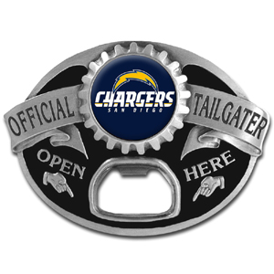 NFL Tailgater Buckle - San Diego Chargers - Quality detail and sturdy functionality highlight this great tailgater buckle that features an inset team dome logo and functional bottle opener. Officially licensed NFL product Licensee: Siskiyou Buckle .com