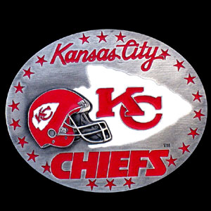NFL Belt Buckle - Kansas City Chiefs - This finely sculpted and enameled NFL team belt buckle contains exceptional 3D detailing. Siskiyou's unique buckle designs often become collector's items and are unequaled with the best craftsmanship.  Officially licensed NFL product Licensee: Siskiyou Buckle Thank you for visiting CrazedOutSports.com