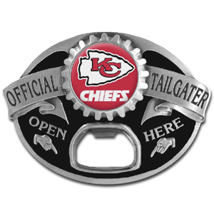 NFL Tailgater Buckle - Kansas City Chiefs - Quality detail and sturdy functionality highlight this great tailgater buckle that features an inset team dome logo and functional bottle opener. Officially licensed NFL product Licensee: Siskiyou Buckle Thank you for visiting CrazedOutSports.com