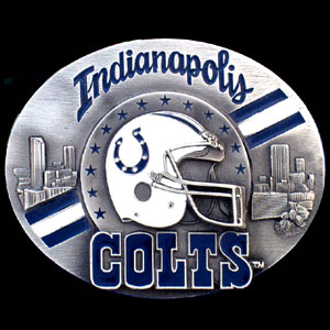 NFL Belt Buckle - Indianapolis Colts - This finely sculpted and enameled NFL team belt buckle contains exceptional 3D detailing. Siskiyou's unique buckle designs often become collector's items and are unequaled with the best craftsmanship.  Officially licensed NFL product Licensee: Siskiyou Buckle Thank you for visiting CrazedOutSports.com