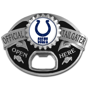 NFL Tailgater Buckle - Indianapolis Colts - Quality detail and sturdy functionality highlight this great tailgater buckle that features an inset team dome logo and functional bottle opener. Officially licensed NFL product Licensee: Siskiyou Buckle Thank you for visiting CrazedOutSports.com