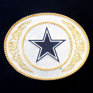 Dallas Cowboys - Gold and Silver Toned NFL Logo Buckle - Dallas Cowboys logo on a finely detailed gold and silver toned NFL buckle. Check out our entire line of  NFL buckles! Officially licensed NFL product Licensee: Siskiyou Buckle .com
