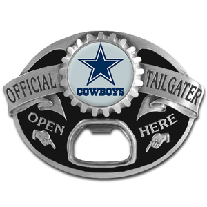 NFL Tailgater Buckle - Dallas Cowboys - Quality detail and sturdy functionality highlight this great tailgater buckle that features an inset team dome logo and functional bottle opener. Officially licensed NFL product Licensee: Siskiyou Buckle Thank you for visiting CrazedOutSports.com