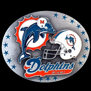 NFL Belt Buckle - Miami Dolphins - This finely sculpted and enameled NFL team belt buckle contains exceptional 3D detailing. Siskiyou's unique buckle designs often become collector's items and are unequaled with the best craftsmanship.  Officially licensed NFL product Licensee: Siskiyou Buckle .com