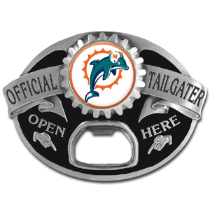 NFL Tailgater Buckle - Miami Dolphins - Quality detail and sturdy functionality highlight this great tailgater buckle that features an inset team dome logo and functional bottle opener. Officially licensed NFL product Licensee: Siskiyou Buckle .com