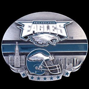 NFL Belt Buckle - Philadelphia Eagles  - This finely sculpted and enameled NFL team belt buckle contains exceptional 3D detailing. Siskiyou's unique buckle designs often become collector's items and are unequaled with the best craftsmanship.  Officially licensed NFL product Licensee: Siskiyou Buckle .com