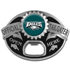 NFL Tailgater Buckle - Philadelphia Eagles - Quality detail and sturdy functionality highlight this great tailgater buckle that features an inset team dome logo and functional bottle opener. Officially licensed NFL product Licensee: Siskiyou Buckle .com