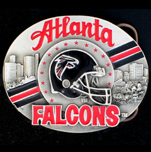 NFL Belt Buckle - Atlanta Falcons  - This finely sculpted and enameled NFL team belt buckle contains exceptional 3D detailing. Siskiyou's unique buckle designs often become collector's items and are unequaled with the best craftsmanship.  Officially licensed NFL product Licensee: Siskiyou Buckle .com