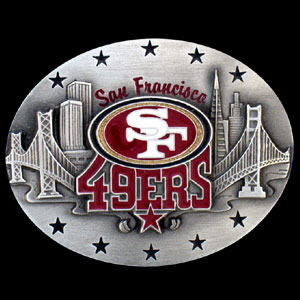 NFL Belt Buckle - San Francisco 49ers  - This finely sculpted and enameled NFL team belt buckle contains exceptional 3D detailing. Siskiyou's unique buckle designs often become collector's items and are unequaled with the best craftsmanship.  Officially licensed NFL product Licensee: Siskiyou Buckle .com