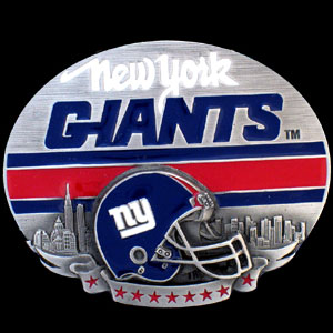 NFL Belt Buckle - New York Giants  - This finely sculpted and enameled NFL team belt buckle contains exceptional 3D detailing. Siskiyou's unique buckle designs often become collector's items and are unequaled with the best craftsmanship.  Officially licensed NFL product Licensee: Siskiyou Buckle .com