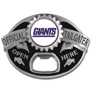 NFL Tailgater Buckle - New York Giants - Quality detail and sturdy functionality highlight this great tailgater buckle that features an inset team dome logo and functional bottle opener. Officially licensed NFL product Licensee: Siskiyou Buckle Thank you for visiting CrazedOutSports.com
