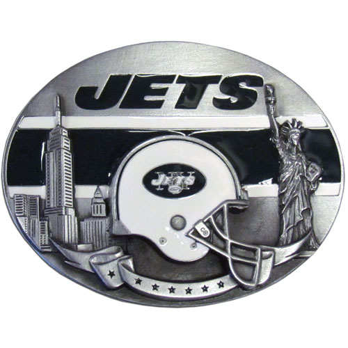 NFL Belt Buckle - New York Jets - This finely sculpted and enameled NFL team belt buckle contains exceptional 3D detailing. Siskiyou's unique buckle designs often become collector's items and are unequaled with the best craftsmanship.  Officially licensed NFL product Licensee: Siskiyou Buckle Thank you for visiting CrazedOutSports.com
