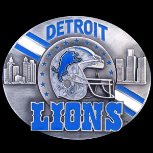 NFL Belt Buckle - Detroit Lions  - This finely sculpted and enameled NFL team belt buckle contains exceptional 3D detailing. Siskiyou's unique buckle designs often become collector's items and are unequaled with the best craftsmanship.  Officially licensed NFL product Licensee: Siskiyou Buckle .com