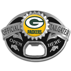 NFL Tailgater Buckle - Green Bay Packers - Quality detail and sturdy functionality highlight this great tailgater buckle that features an inset team dome logo and functional bottle opener. Officially licensed NFL product Licensee: Siskiyou Buckle Thank you for visiting CrazedOutSports.com