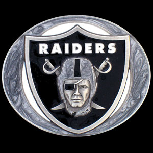 NFL Belt Buckle - Oakland Raiders - This finely sculpted and enameled NFL team belt buckle contains exceptional 3D detailing. Siskiyou's unique buckle designs often become collector's items and are unequaled with the best craftsmanship.  Officially licensed NFL product Licensee: Siskiyou Buckle Thank you for visiting CrazedOutSports.com