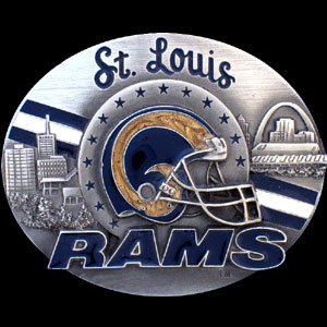 NFL Belt Buckle - St. Louis Rams - This finely sculpted and enameled NFL team belt buckle contains exceptional 3D detailing. Siskiyou's unique buckle designs often become collector's items and are unequaled with the best craftsmanship.  Officially licensed NFL product Licensee: Siskiyou Buckle .com