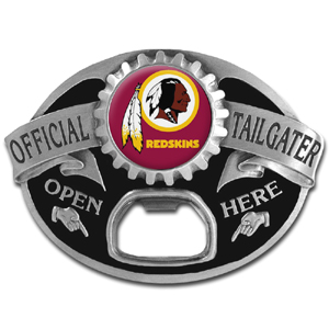 NFL Tailgater Buckle - Washington Redskins - Quality detail and sturdy functionality highlight this great tailgater buckle that features an inset team dome logo and functional bottle opener. Officially licensed NFL product Licensee: Siskiyou Buckle Thank you for visiting CrazedOutSports.com