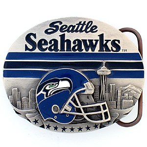 NFL Belt Buckle - Seattle Seahawks  - This finely sculpted and enameled NFL team belt buckle contains exceptional 3D detailing. Siskiyou's unique buckle designs often become collector's items and are unequaled with the best craftsmanship.  Officially licensed NFL product Licensee: Siskiyou Buckle Thank you for visiting CrazedOutSports.com