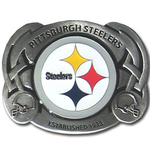 NFL Belt Buckle - Pittsburgh Steelers  - This finely sculpted and enameled NFL team belt buckle contains exceptional 3D detailing. Siskiyou's unique buckle designs often become collector's items and are unequaled with the best craftsmanship.  Officially licensed NFL product Licensee: Siskiyou Buckle .com