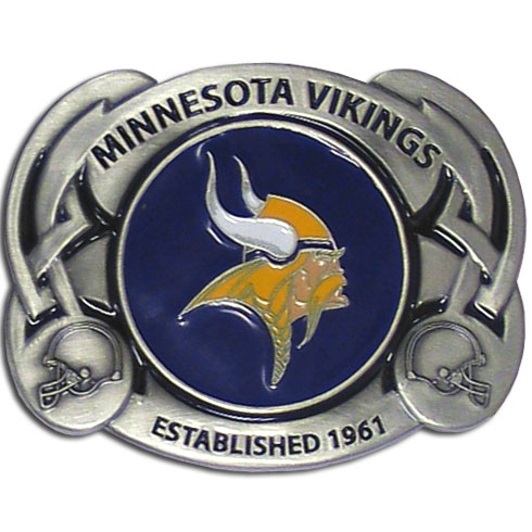 NFL Belt Buckle - Minnesota Vikings - This finely sculpted and enameled NFL team belt buckle contains exceptional 3D detailing. Siskiyou's unique buckle designs often become collector's items and are unequaled with the best craftsmanship.  Officially licensed NFL product Licensee: Siskiyou Buckle .com