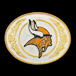 Minnesota Vikings - Gold and Silver Toned NFL Logo Buckle - Minnesota Vikings logo on a finely detailed gold and silver toned NFL buckle. Check out our entire line of  NFL buckles! Officially licensed NFL product Licensee: Siskiyou Buckle .com
