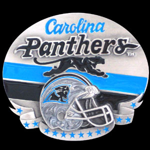 NFL Belt Buckle - Carolina Panthers - This finely sculpted and enameled NFL team belt buckle contains exceptional 3D detailing. Siskiyou's unique buckle designs often become collector's items and are unequaled with the best craftsmanship.  Officially licensed NFL product Licensee: Siskiyou Buckle Thank you for visiting CrazedOutSports.com