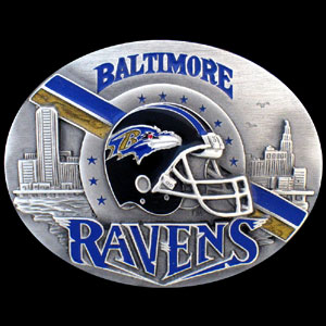 NFL Belt Buckle - Baltimore Ravens  - This finely sculpted and enameled NFL team belt buckle contains exceptional 3D detailing. Siskiyou's unique buckle designs often become collector's items and are unequaled with the best craftsmanship.  Officially licensed NFL product Licensee: Siskiyou Buckle .com