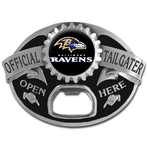 NFL Tailgater Buckle - Baltimore Ravens - Quality detail and sturdy functionality highlight this great tailgater buckle that features an inset team dome logo and functional bottle opener. Officially licensed NFL product Licensee: Siskiyou Buckle .com