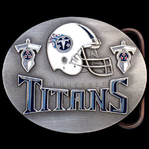 NFL Belt Buckle - Tennessee Titans  - This finely sculpted and enameled NFL team belt buckle contains exceptional 3D detailing. Siskiyou's unique buckle designs often become collector's items and are unequaled with the best craftsmanship.  Officially licensed NFL product Licensee: Siskiyou Buckle .com