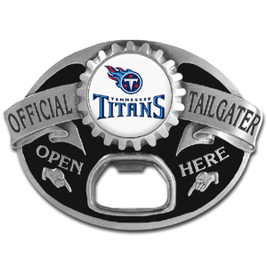 NFL Tailgater Buckle - Tennessee Titans - Quality detail and sturdy functionality highlight this great tailgater buckle that features an inset team dome logo and functional bottle opener. Officially licensed NFL product Licensee: Siskiyou Buckle .com