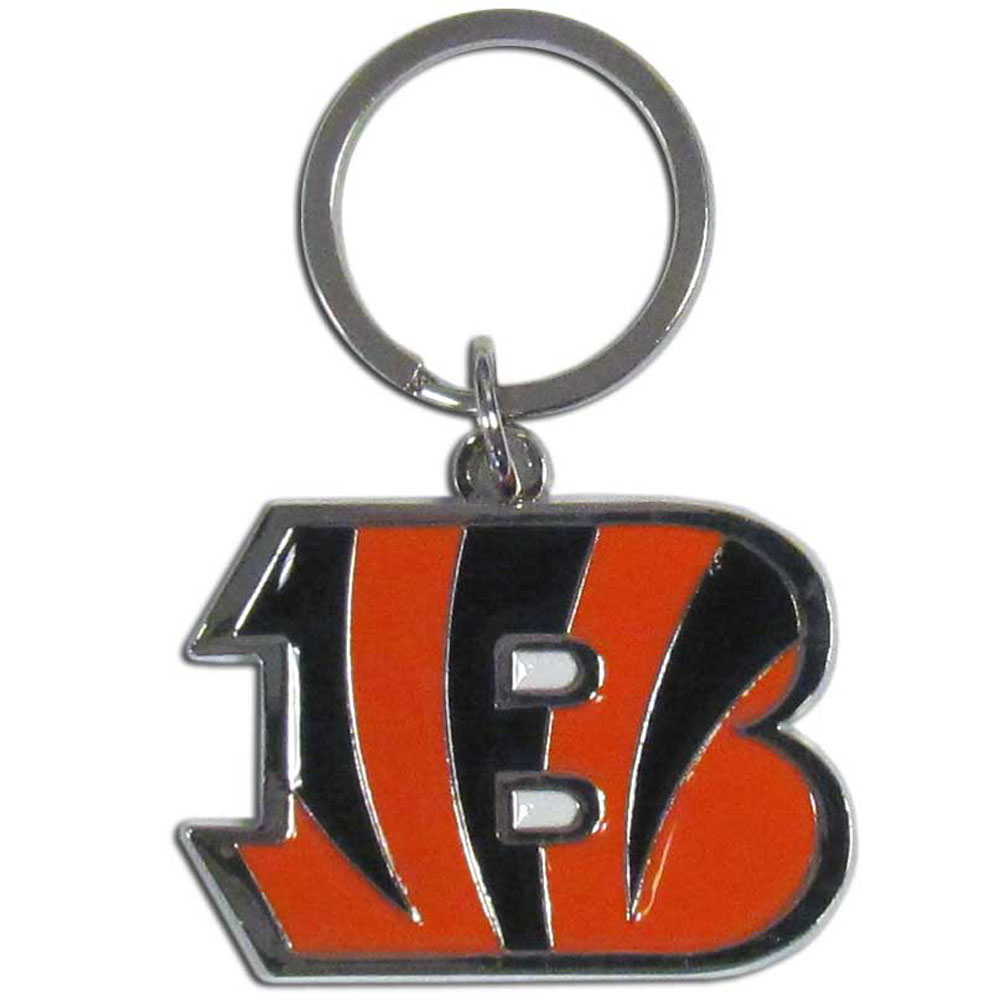 Cincinnati Bengals Enameled Key Chain - Our officially licensed chrome key chain have exceptional 3D detail that really sets this key chain apart from other Cincinnati Bengals key chains. The logo is finely carved and enamel filled with a high polish chrome finish.