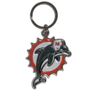Dolphins Chrome Key Chain - Our NFL chrome key chain is logo cut and enamel filled with a high polish chrome finish. Officially licensed NFL product Licensee: Siskiyou Buckle .com
