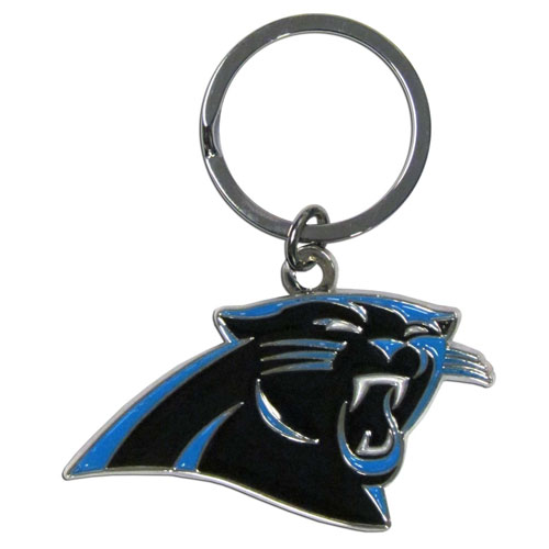 Panthers Chrome Key Chain - Our NFL chrome key chain is logo cut and enamel filled with a high polish chrome finish. Officially licensed NFL product Licensee: Siskiyou Buckle .com