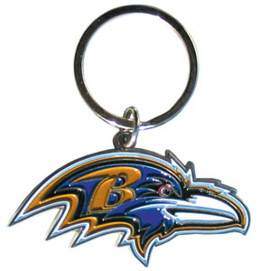 NFL Key Chain - Baltimore Ravens - Our NFL chrome key chain is logo cut and enamel filled with a high polish chrome finish. Officially licensed NFL product Licensee: Siskiyou Buckle .com