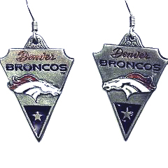 NFL Earrings - Denver Broncos - Denver Broncos enameled dangle NFL earrings. Check out our entire line of  jewelry and licensed collectibles! Officially licensed NFL product Licensee: Siskiyou Buckle Thank you for visiting CrazedOutSports.com