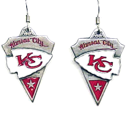 NFL Earrings - Kansas City Chiefs - Kansas City Chiefs enameled dangle NFL earrings. Check out our entire line of  jewelry and licensed collectibles! Officially licensed NFL product Licensee: Siskiyou Buckle Thank you for visiting CrazedOutSports.com