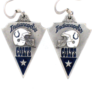 NFL Earrings - Indianapolis Colts - Indianapolis Colts enameled dangle NFL earrings. Check out our entire line of  jewelry and licensed collectibles! Officially licensed NFL product Licensee: Siskiyou Buckle Thank you for visiting CrazedOutSports.com