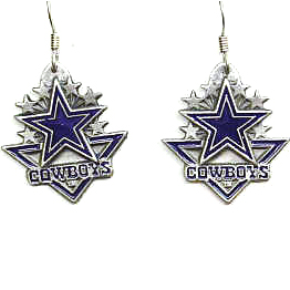 NFL Earrings - Dallas Cowboys - Dallas Cowboys enameled dangle NFL earrings. Check out our entire line of  jewelry and licensed collectibles! Officially licensed NFL product Licensee: Siskiyou Buckle Thank you for visiting CrazedOutSports.com