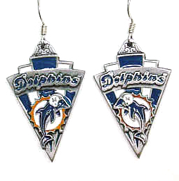 NFL Earrings - Miami Dolphins - Miami Dolphins enameled dangle NFL earrings. Check out our entire line of  jewelry and licensed collectibles! Officially licensed NFL product Licensee: Siskiyou Buckle .com