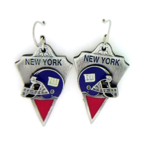NFL Earrings - New York Giants - New York Giants enameled dangle NFL earrings. Check out our entire line of  jewelry and licensed collectibles! Officially licensed NFL product Licensee: Siskiyou Buckle Thank you for visiting CrazedOutSports.com