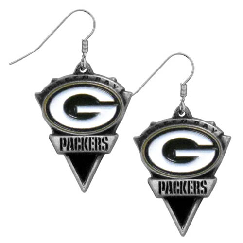 NFL Earrings - Green Bay Packers - Green Bay Packers enameled dangle NFL earrings. Check out our entire line of  jewelry and licensed collectibles! Officially licensed NFL product Licensee: Siskiyou Buckle .com