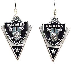 NFL Earrings - Oakland Raiders - Oakland Raiders enameled dangle NFL earrings. Check out our entire line of  jewelry and licensed collectibles! Officially licensed NFL product Licensee: Siskiyou Buckle Thank you for visiting CrazedOutSports.com