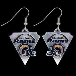 NFL Earrings - St. Louis Rams - St. Louis Rams enameled dangle NFL earrings. Check out our entire line of  jewelry and licensed collectibles!   Officially licensed NFL product Licensee: Siskiyou Buckle Thank you for visiting CrazedOutSports.com
