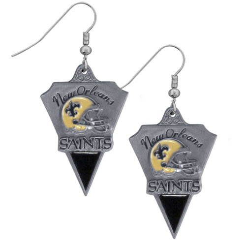 NFL Earrings - New Orleans Saints - New Orleans Saints enameled dangle NFL earrings. Check out our entire line of  jewelry and licensed collectibles! Officially licensed NFL product Licensee: Siskiyou Buckle .com
