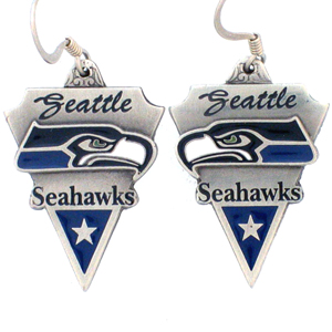NFL Earrings - Seattle Seahawks - Seattle Seahawks enameled dangle NFL earrings. Check out our entire line of  jewelry and licensed collectibles! Officially licensed NFL product Licensee: Siskiyou Buckle .com