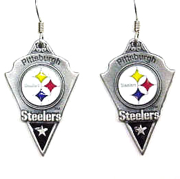 NFL Earrings - Pittsburgh Steelers - Pittsburgh Steelers enameled dangle NFL earrings. Check out our entire line of  jewelry and licensed collectibles! Officially licensed NFL product Licensee: Siskiyou Buckle .com