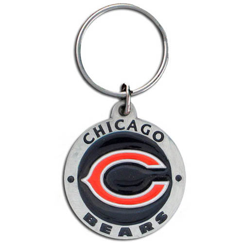 "NFL Key Ring - Chicago Bears  - This new Chicago Bears logo key ring is sculpted in durable zinc. Enameled in vibrant color, they are resistant to dings and dents. Actual size is approximately 1 3/8"" in diameter. Check out our entire line of  key rings!  Officially licensed NFL product Licensee: Siskiyou Buckle .com"