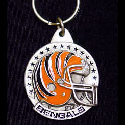"NFL Team Helmet Key Ring - Cincinnati Bengals - Cincinnati Bengals team helmet design on a NFL key chain. Approx. 1 1/4"" Fob. Checkout our entire line of  licensed sports collectibles!  Officially licensed NFL product Licensee: Siskiyou Buckle .com"