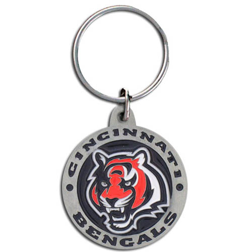"NFL Key Ring - Cincinnati Bengals  - Our new Cincinnati Bengals logo key ring is sculpted in durable zinc. Enameled in vibrant color, they are resistant to dings and dents. Actual size is approximately 1 3/8"" in diameter.  Check out our entire line of  key rings!  Officially licensed NFL product Licensee: Siskiyou Buckle .com"