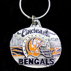 "NFL Team Design Key Ring - Cincinnati Bengals  - Cincinnati Bengals team design NFL key chain. Approx. 1 1/4"" Fob. Checkout our entire line of  licensed sports collectibles! Officially licensed NFL product Licensee: Siskiyou Buckle .com"